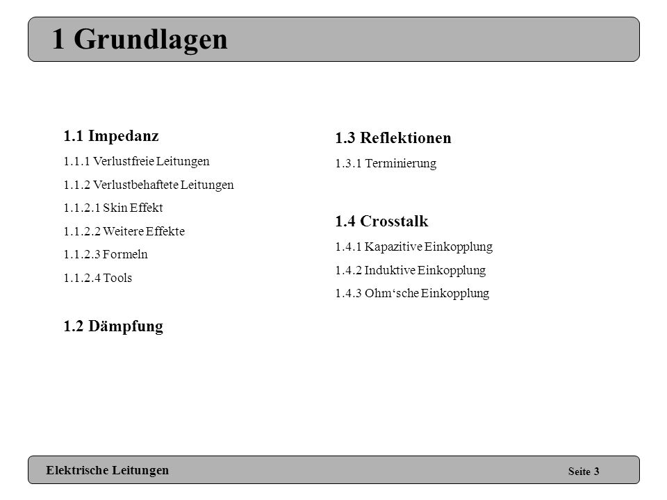 1 Grundlagen 1.1 Impedanz 1.3 Reflektionen 1.4 Crosstalk 1.2 Dämpfung