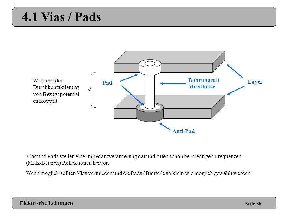 4.1 Vias / Pads Während der Durchkontaktierung von Bezugspotential entkoppelt. Bohrung mit Metalhülse.