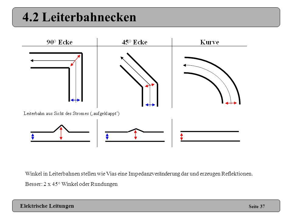 4.2 Leiterbahnecken Rechte Winkel sind Ok bis 2 GHz. Winkel in Leiterbahnen stellen wie Vias eine Impedanzveränderung dar und erzeugen Reflektionen.