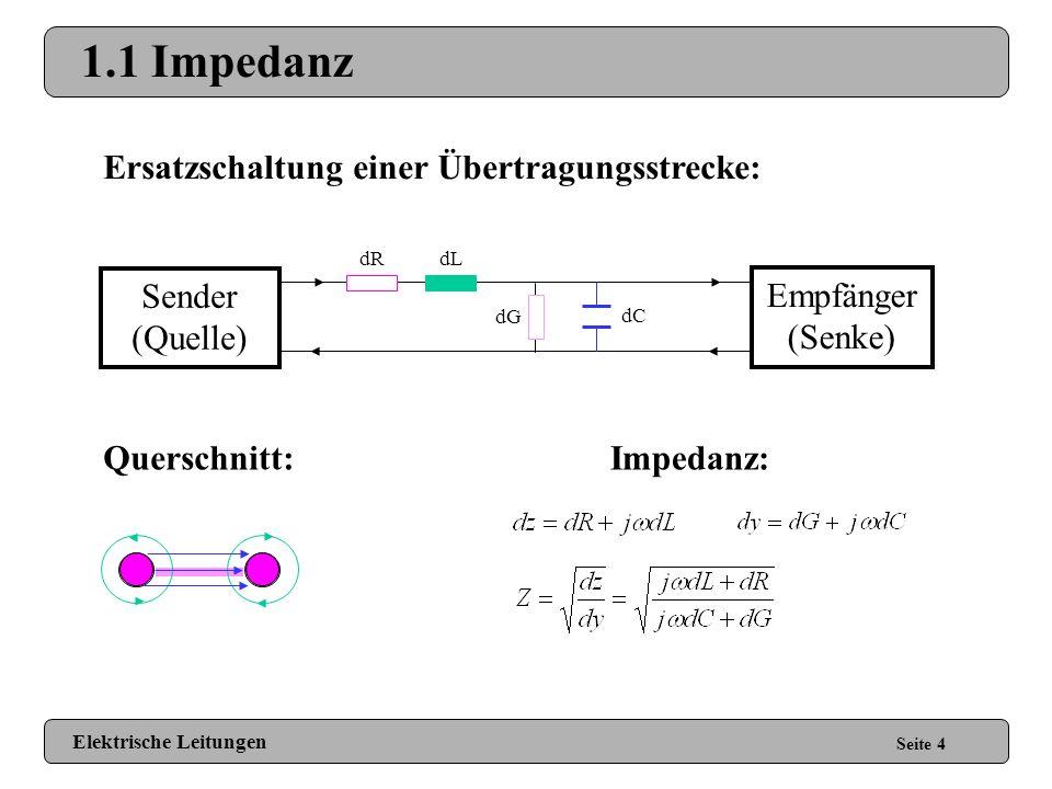 1.1 Impedanz Ersatzschaltung einer Übertragungsstrecke: Sender