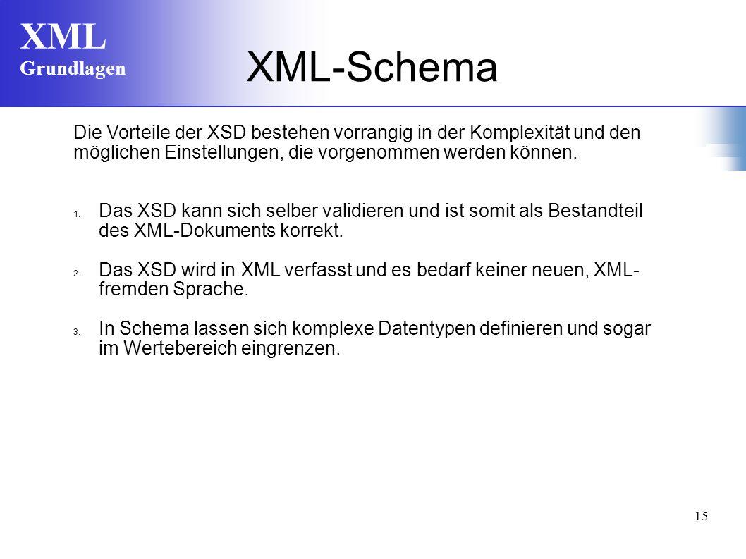 XML-Schema Die Vorteile der XSD bestehen vorrangig in der Komplexität und den. möglichen Einstellungen, die vorgenommen werden können.