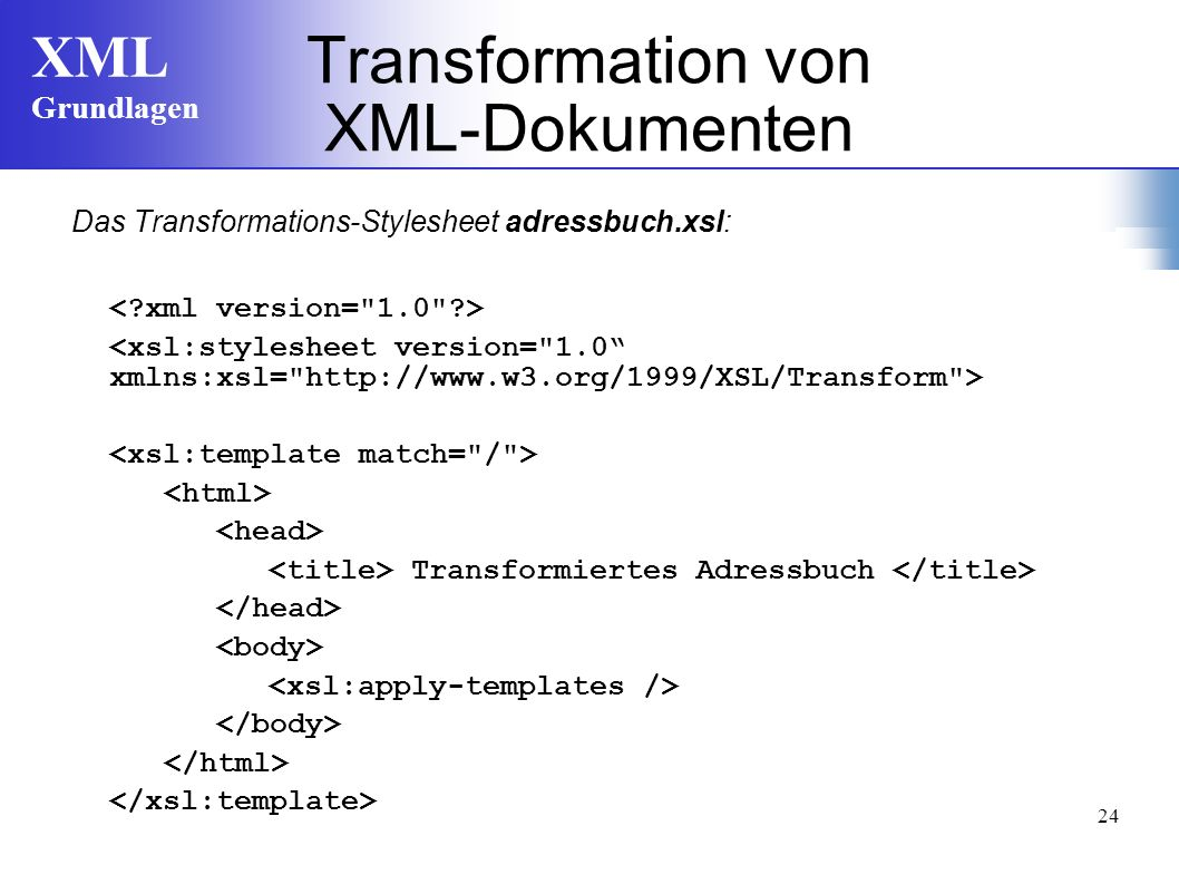 Transformation von XML-Dokumenten