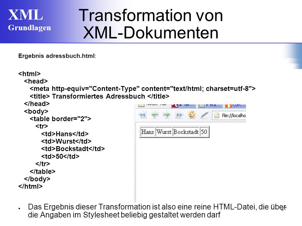 Transformation von XML-Dokumenten