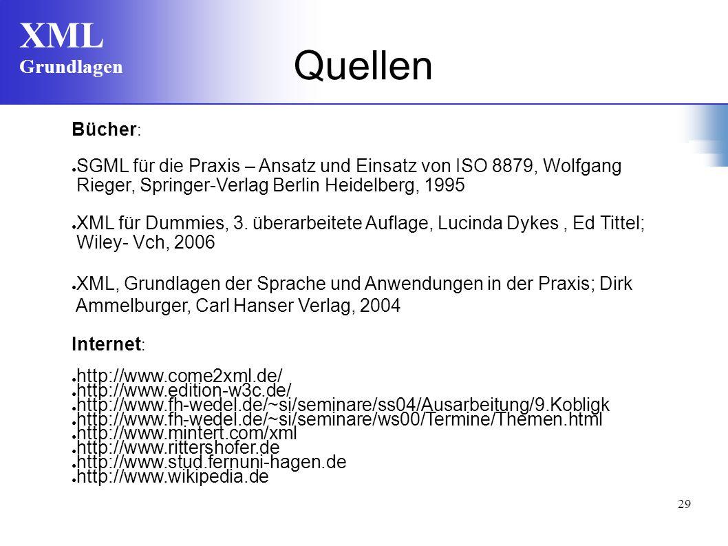 Quellen Bücher: SGML für die Praxis – Ansatz und Einsatz von ISO 8879, Wolfgang. Rieger, Springer-Verlag Berlin Heidelberg, 1995.