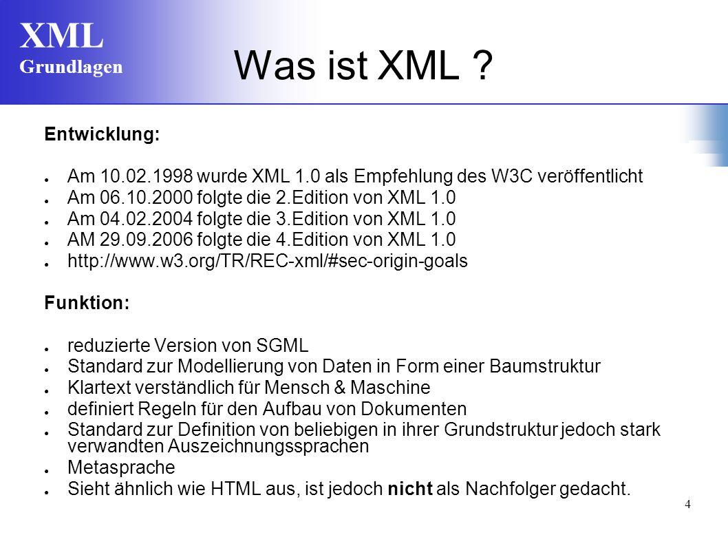 Was ist XML Entwicklung: