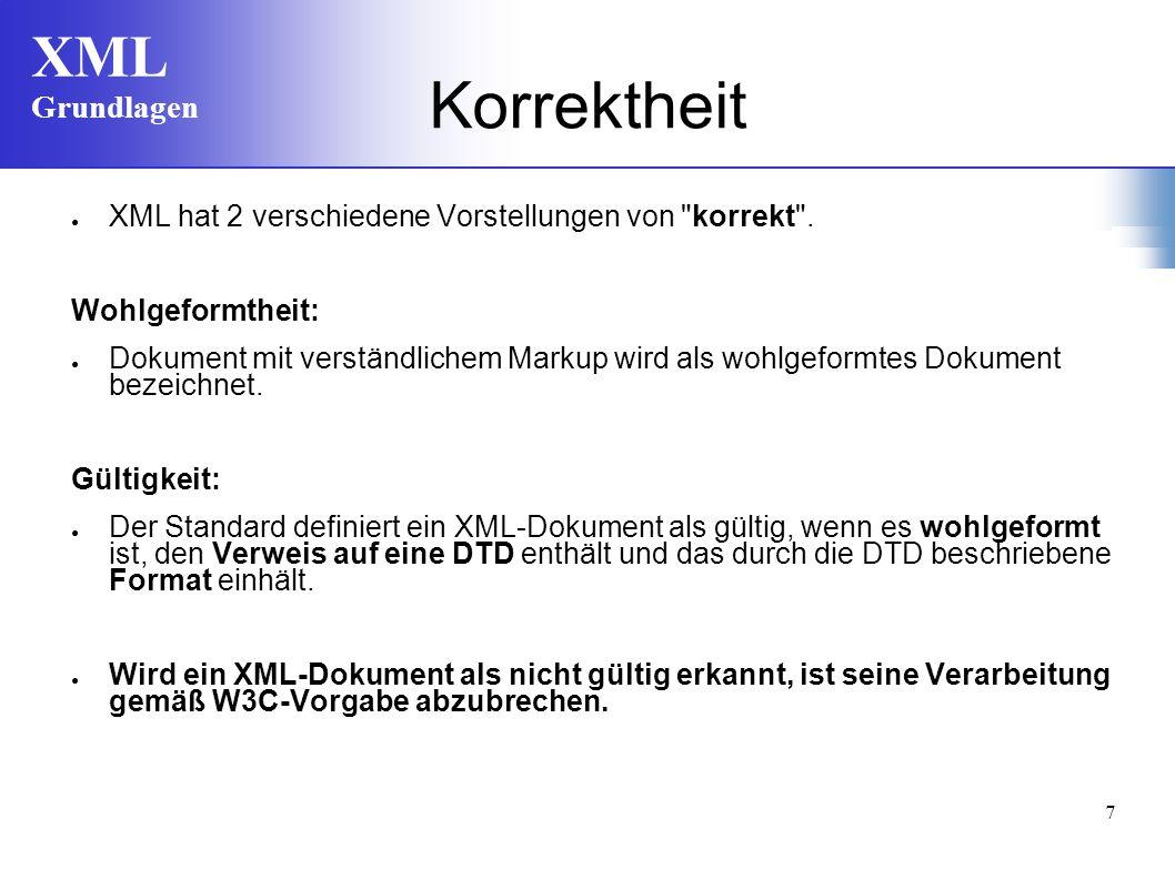 Korrektheit XML hat 2 verschiedene Vorstellungen von korrekt .