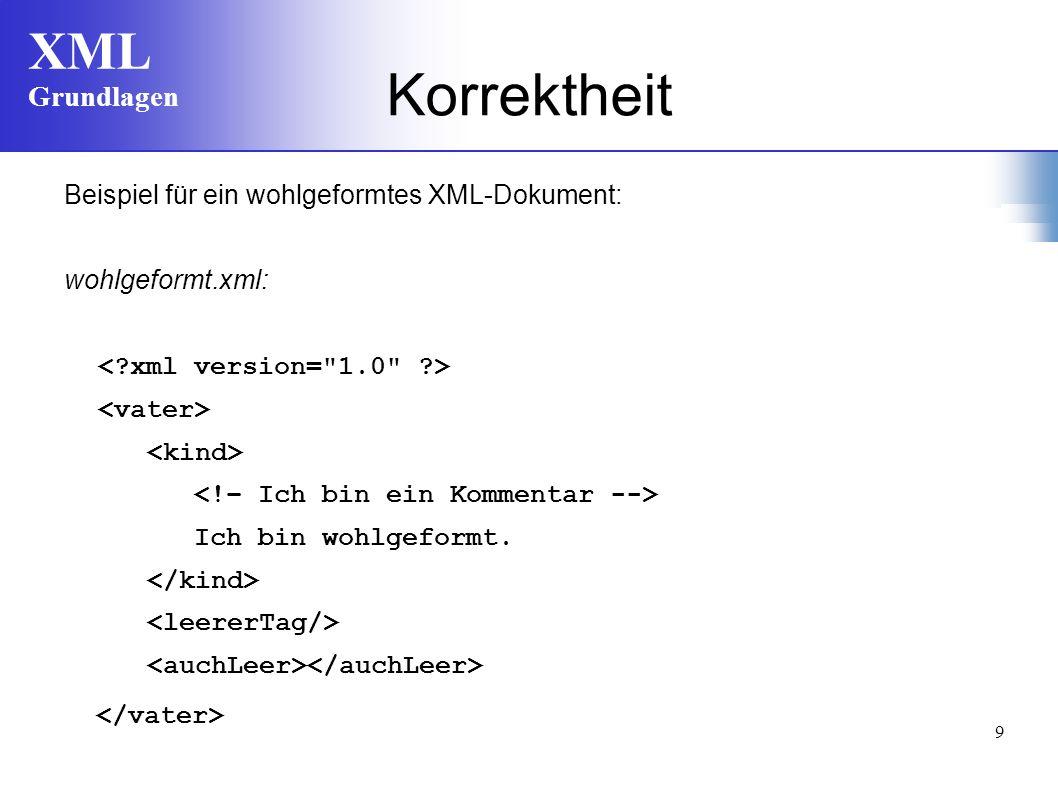 Korrektheit Beispiel für ein wohlgeformtes XML-Dokument: