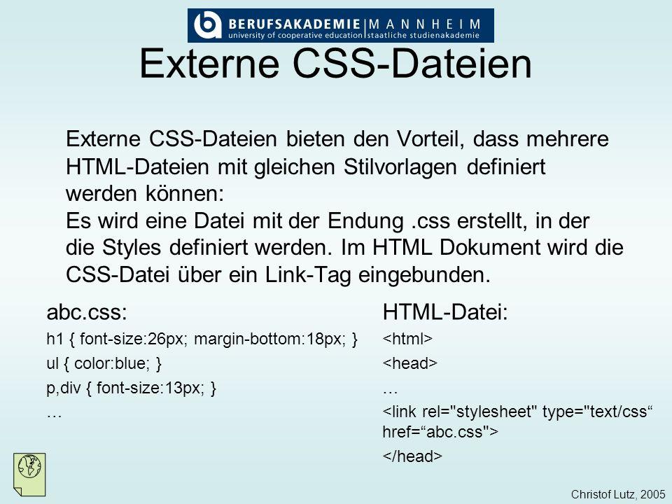 Externe CSS-Dateien