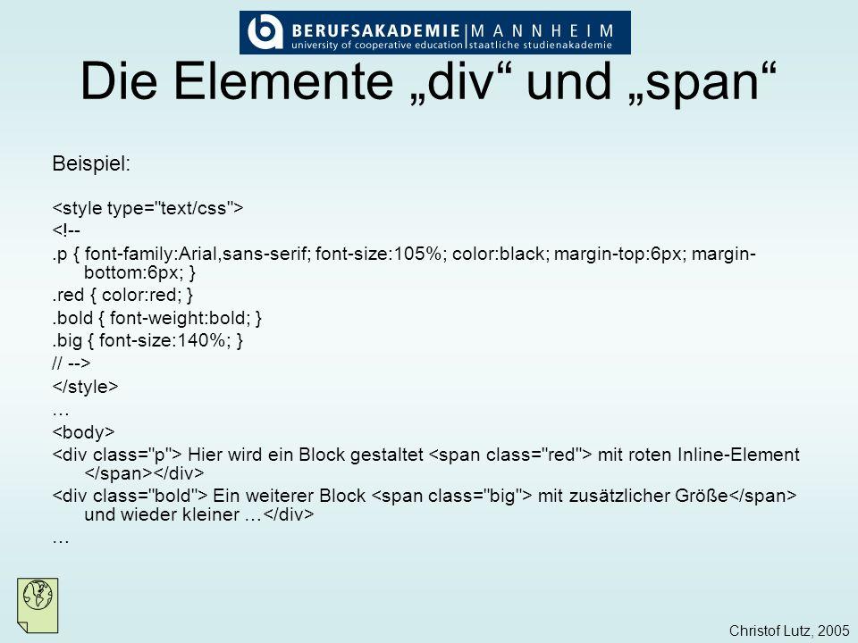 """Die Elemente """"div und """"span"""