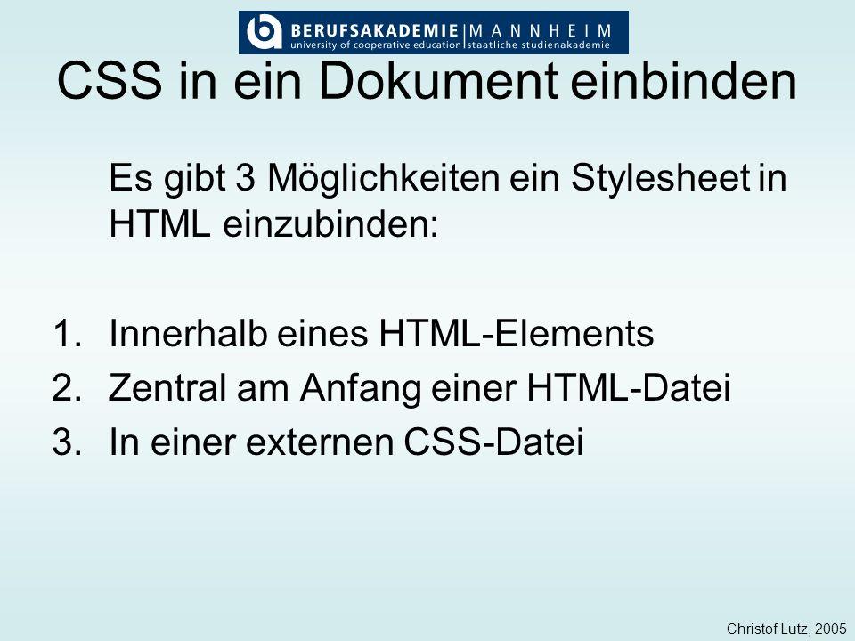 CSS in ein Dokument einbinden