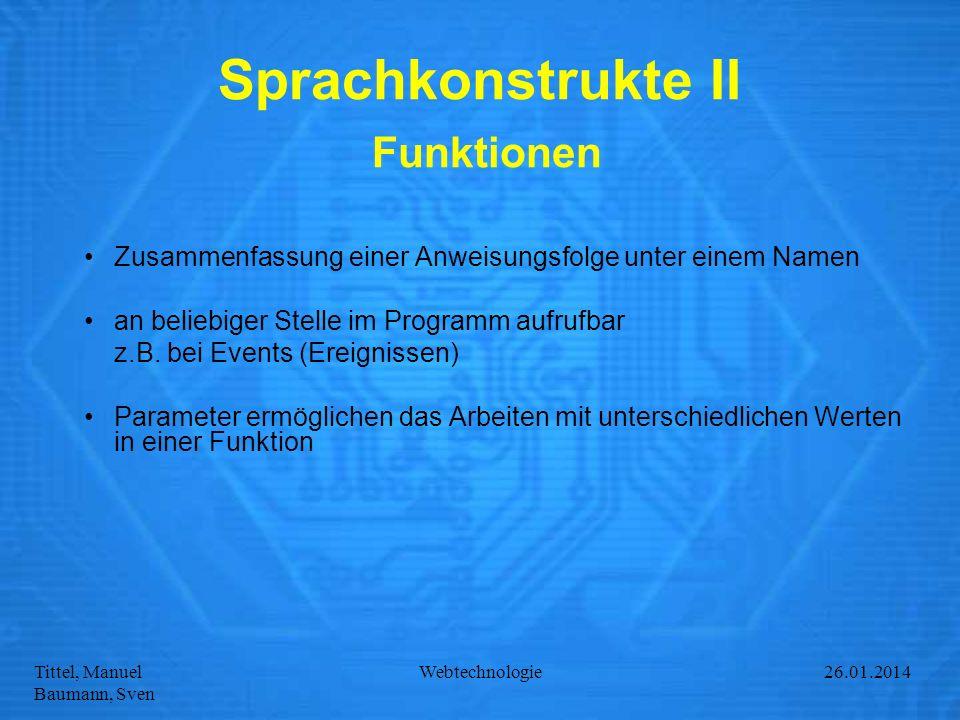 Sprachkonstrukte II Funktionen