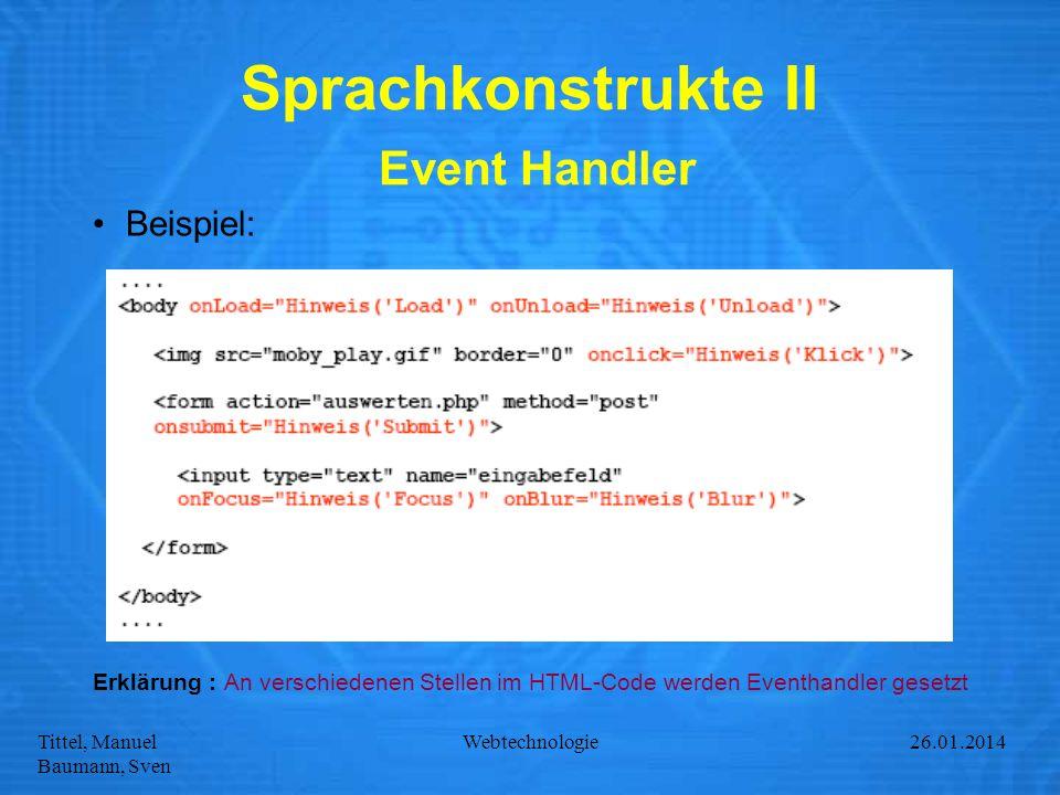 Sprachkonstrukte II Event Handler