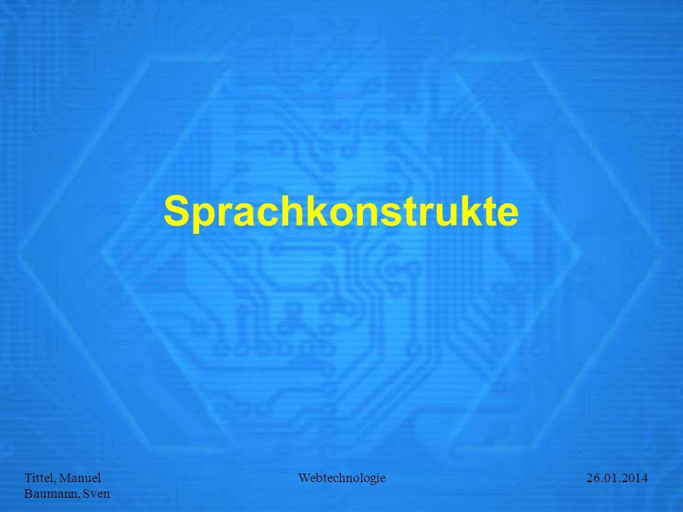 Sprachkonstrukte Webtechnologie 27.03.2017