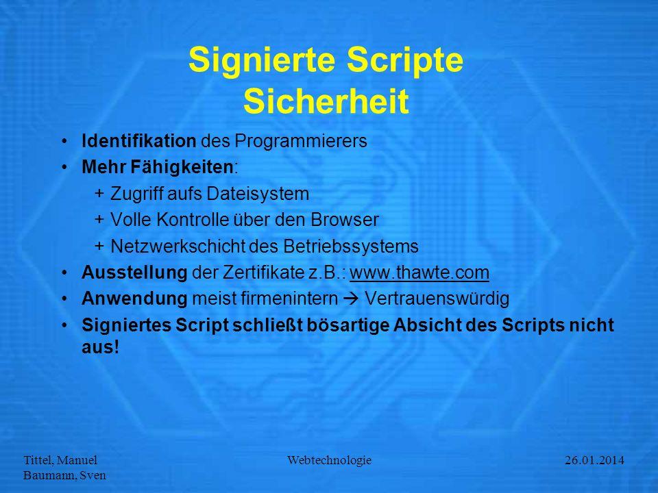 Signierte Scripte Sicherheit