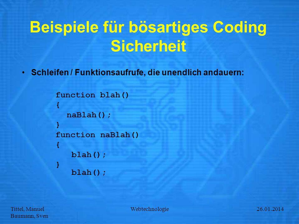 Beispiele für bösartiges Coding Sicherheit