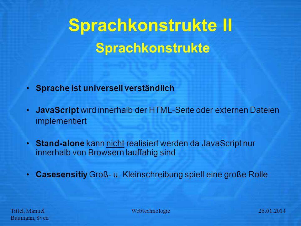 Sprachkonstrukte II Sprachkonstrukte
