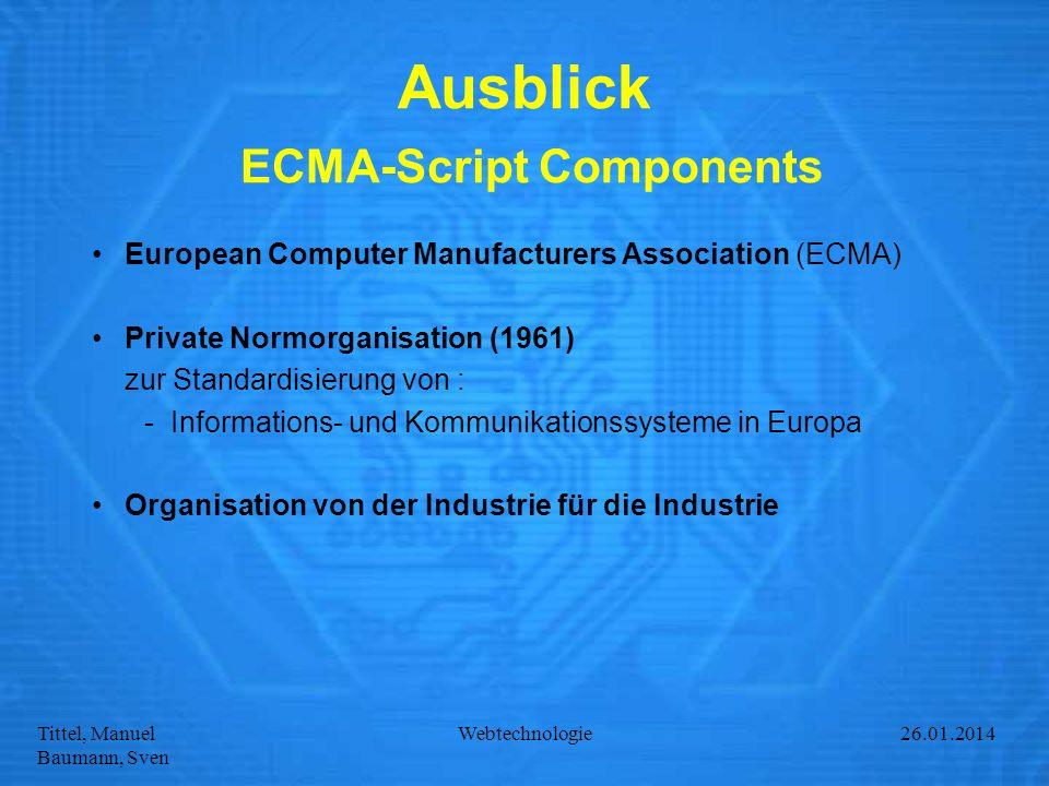 Ausblick ECMA-Script Components