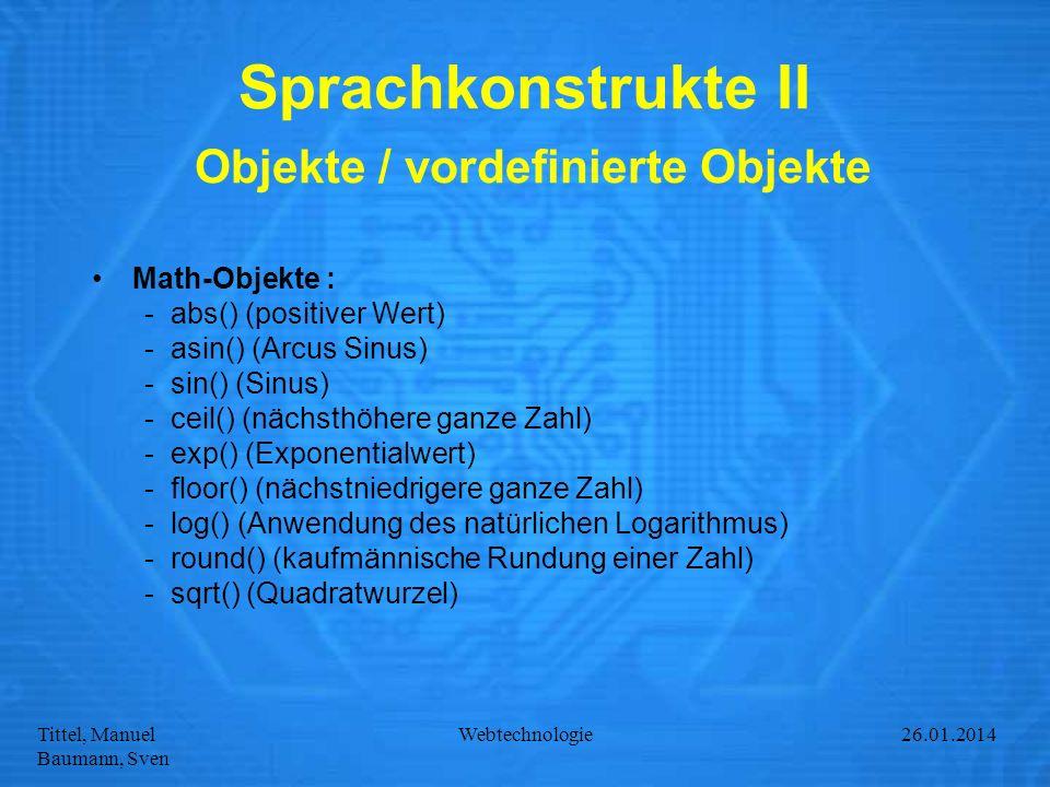 Sprachkonstrukte II Objekte / vordefinierte Objekte
