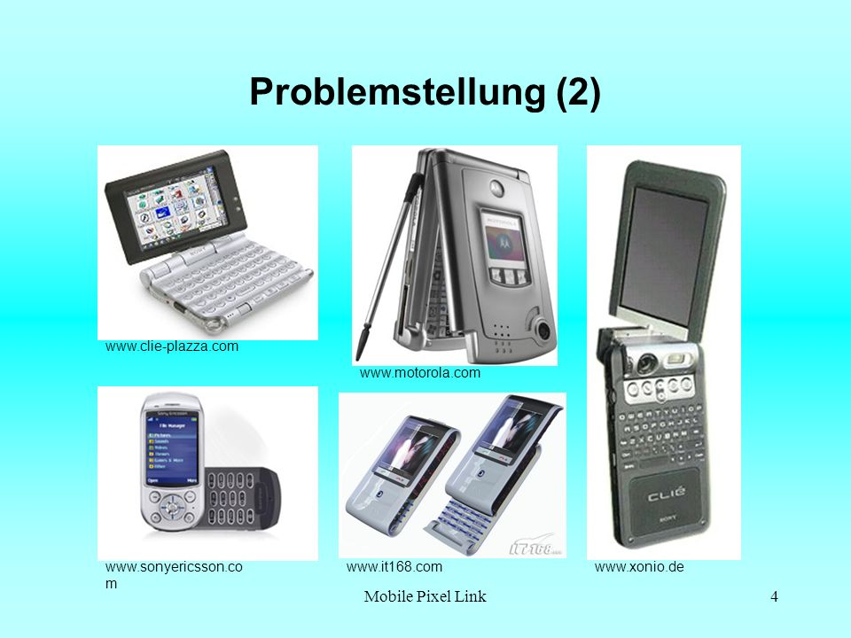 Problemstellung (2) Mobile Pixel Link www.clie-plazza.com