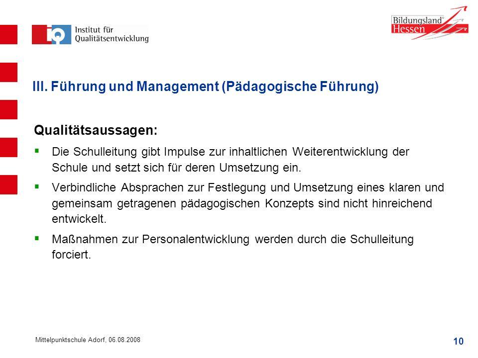 III. Führung und Management (Pädagogische Führung)