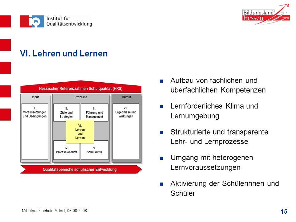 VI. Lehren und Lernen Aufbau von fachlichen und überfachlichen Kompetenzen. Lernförderliches Klima und Lernumgebung.