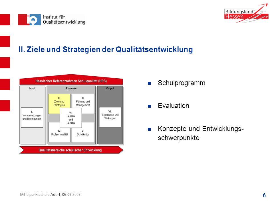 II. Ziele und Strategien der Qualitätsentwicklung