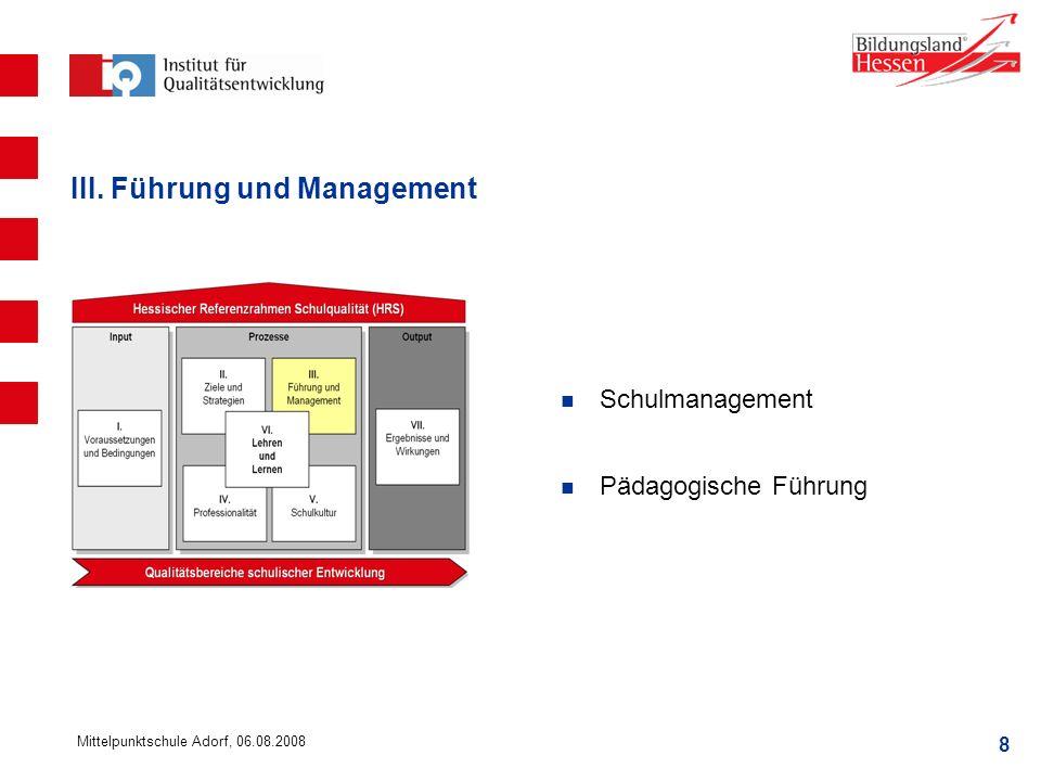 III. Führung und Management