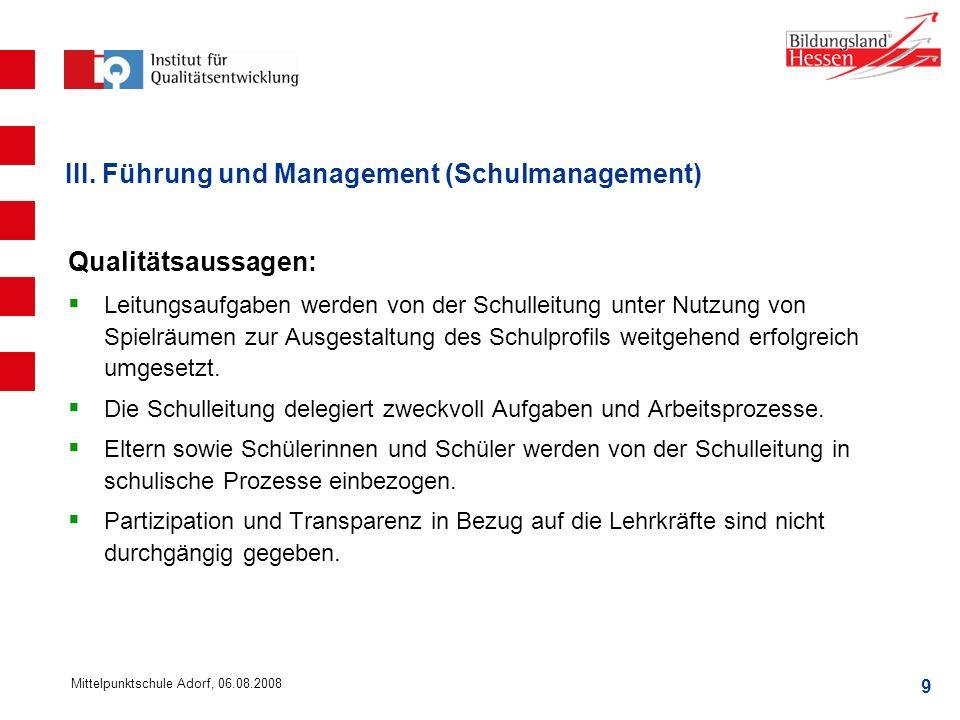 III. Führung und Management (Schulmanagement)