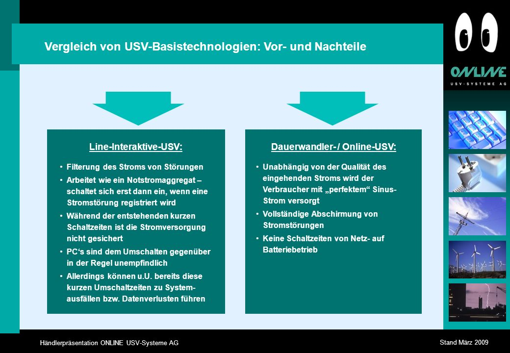 Line-Interaktive-USV: Dauerwandler- / Online-USV: