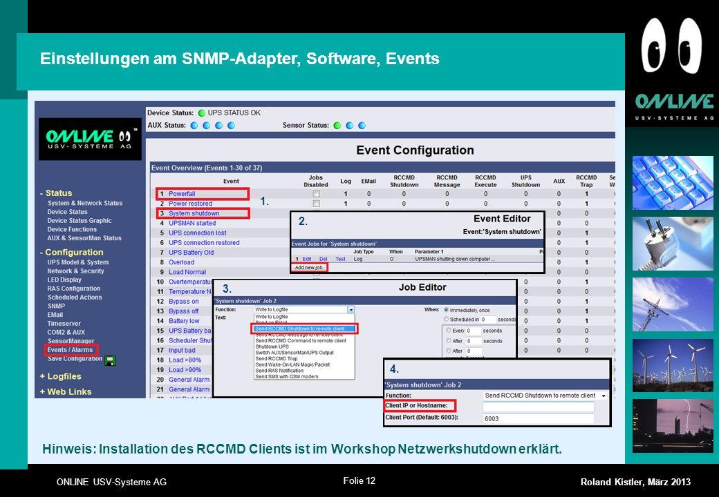 Einstellungen am SNMP-Adapter, Software, Events