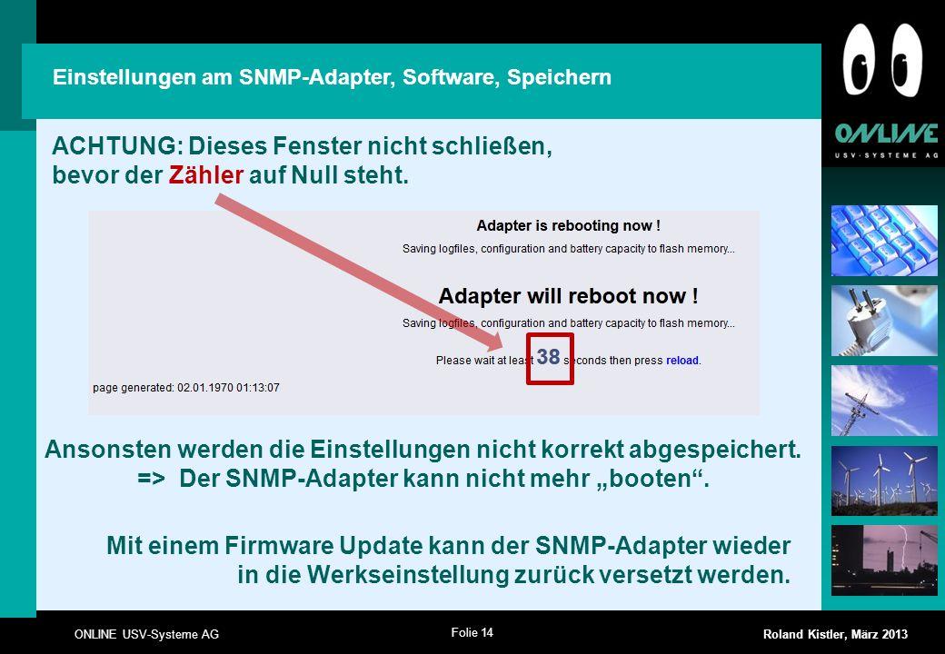 Einstellungen am SNMP-Adapter, Software, Speichern