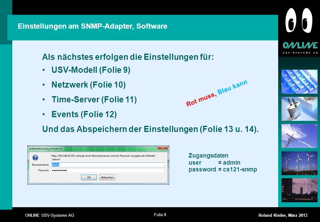 Als nächstes erfolgen die Einstellungen für: USV-Modell (Folie 9)