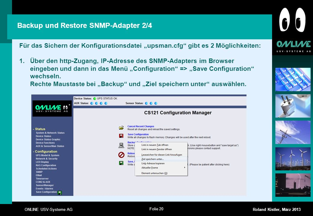 Backup und Restore SNMP-Adapter 2/4