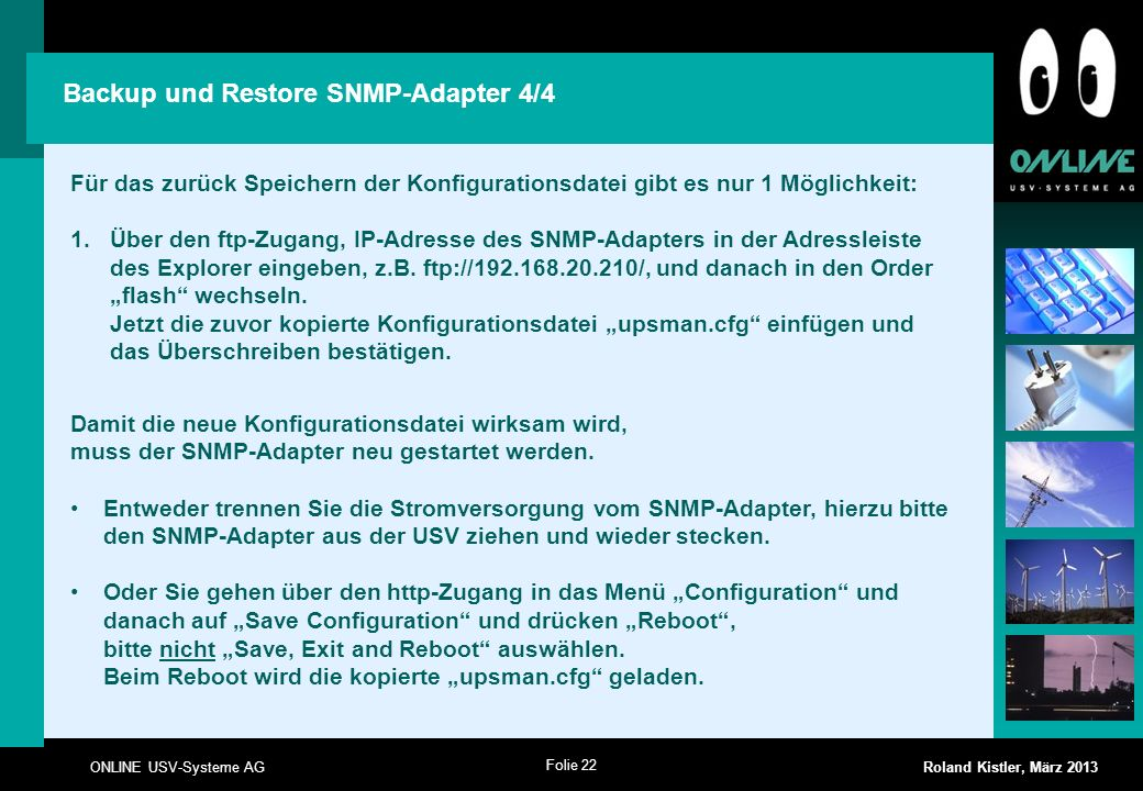 Backup und Restore SNMP-Adapter 4/4