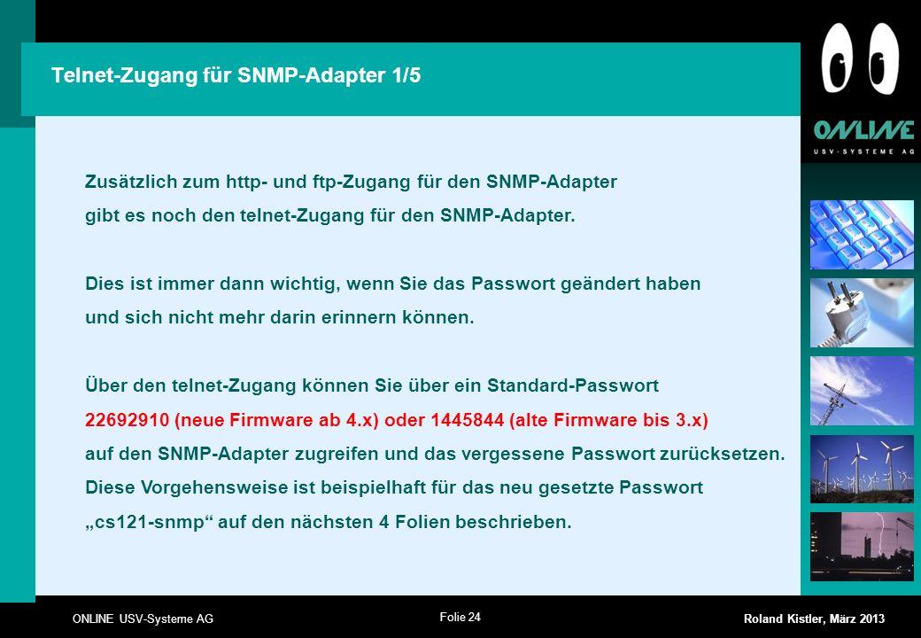 Telnet-Zugang für SNMP-Adapter 1/5