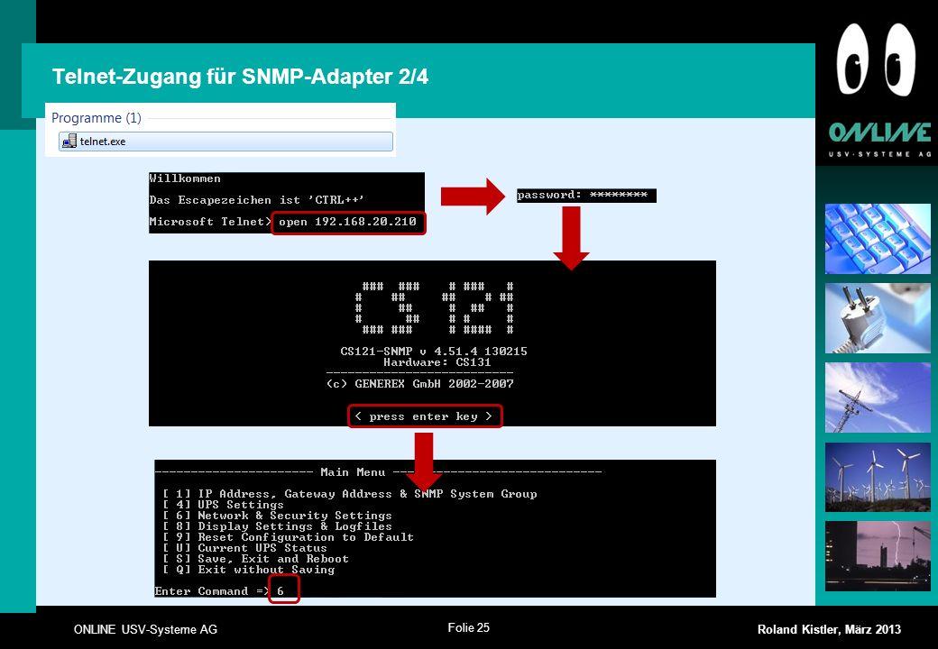 Telnet-Zugang für SNMP-Adapter 2/4