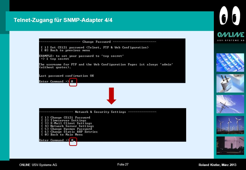 Telnet-Zugang für SNMP-Adapter 4/4