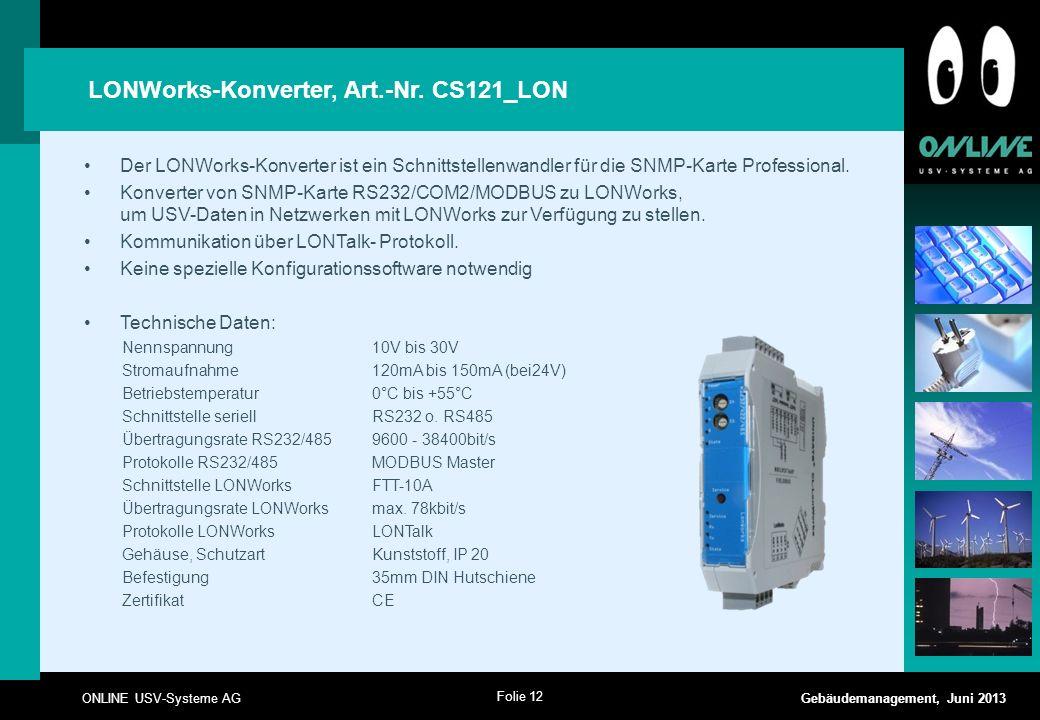 LONWorks-Konverter, Art.-Nr. CS121_LON