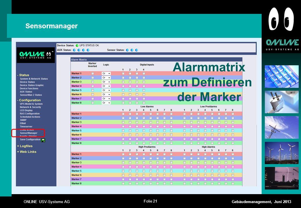 Alarmmatrix zum Definieren der Marker