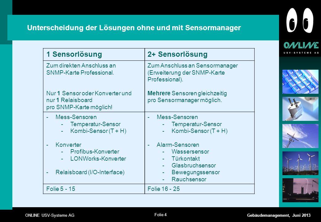 Unterscheidung der Lösungen ohne und mit Sensormanager 1 Sensorlösung