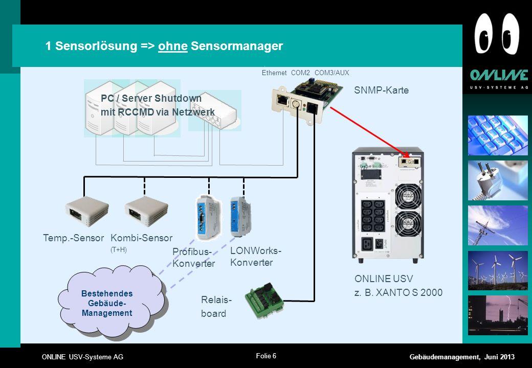 1 Sensorlösung => ohne Sensormanager