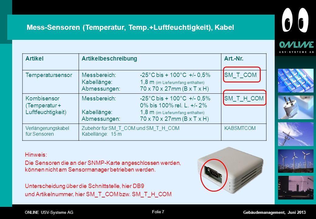 Mess-Sensoren (Temperatur, Temp.+Luftfeuchtigkeit), Kabel
