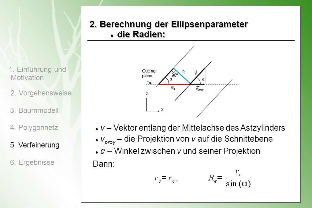 2. Berechnung der Ellipsenparameter die Radien:
