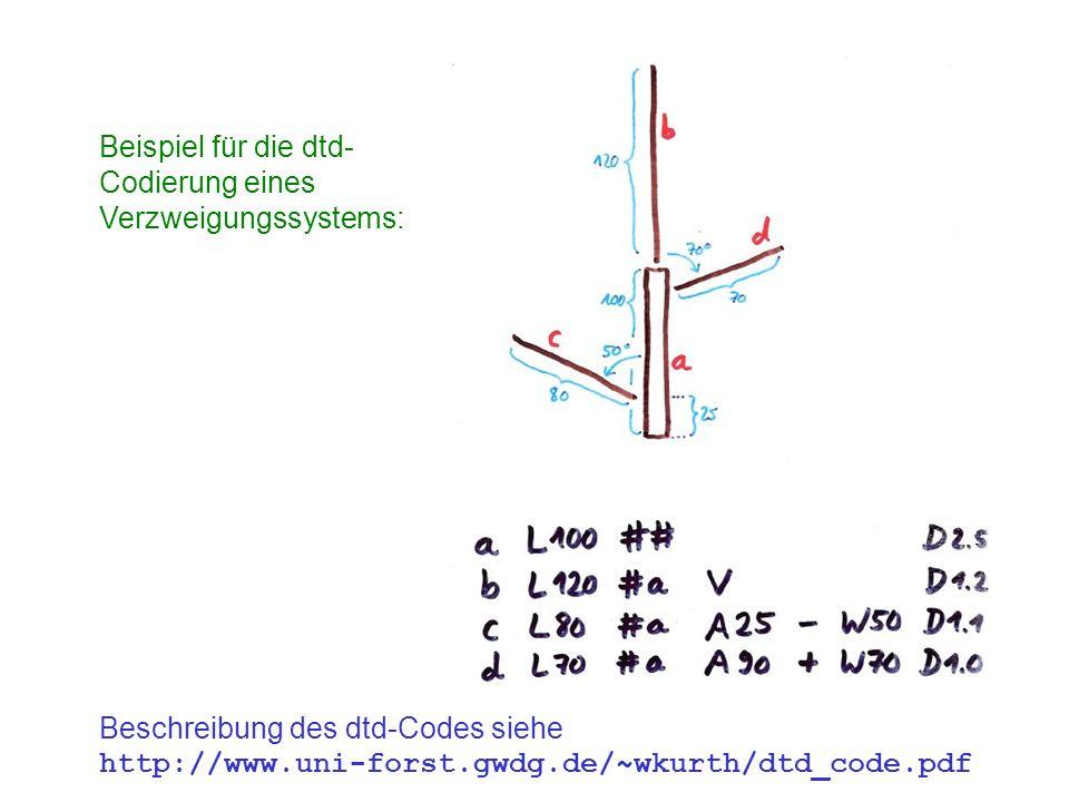 Beispiel für die dtd- Codierung eines. Verzweigungssystems: Beschreibung des dtd-Codes siehe.