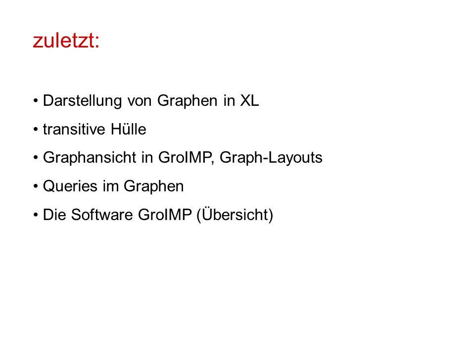 zuletzt: Darstellung von Graphen in XL transitive Hülle