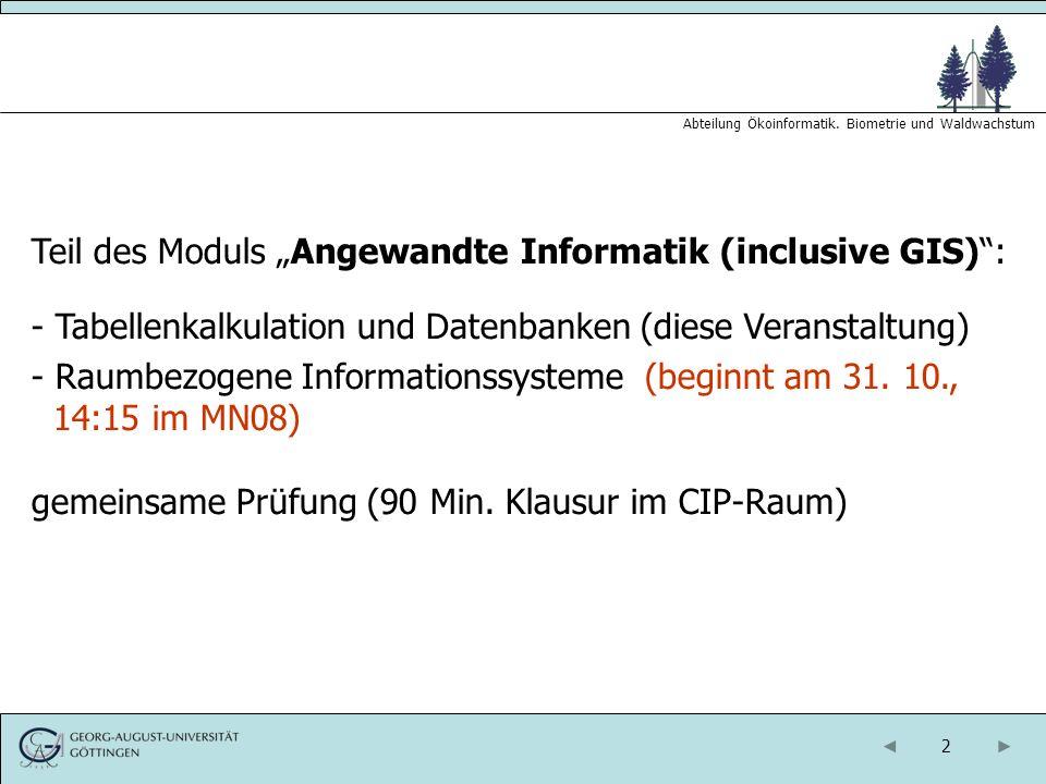 "Teil des Moduls ""Angewandte Informatik (inclusive GIS) :"
