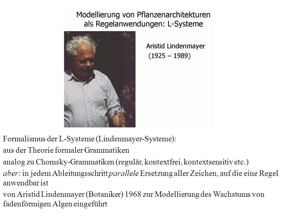Formalismus der L-Systeme (Lindenmayer-Systeme):