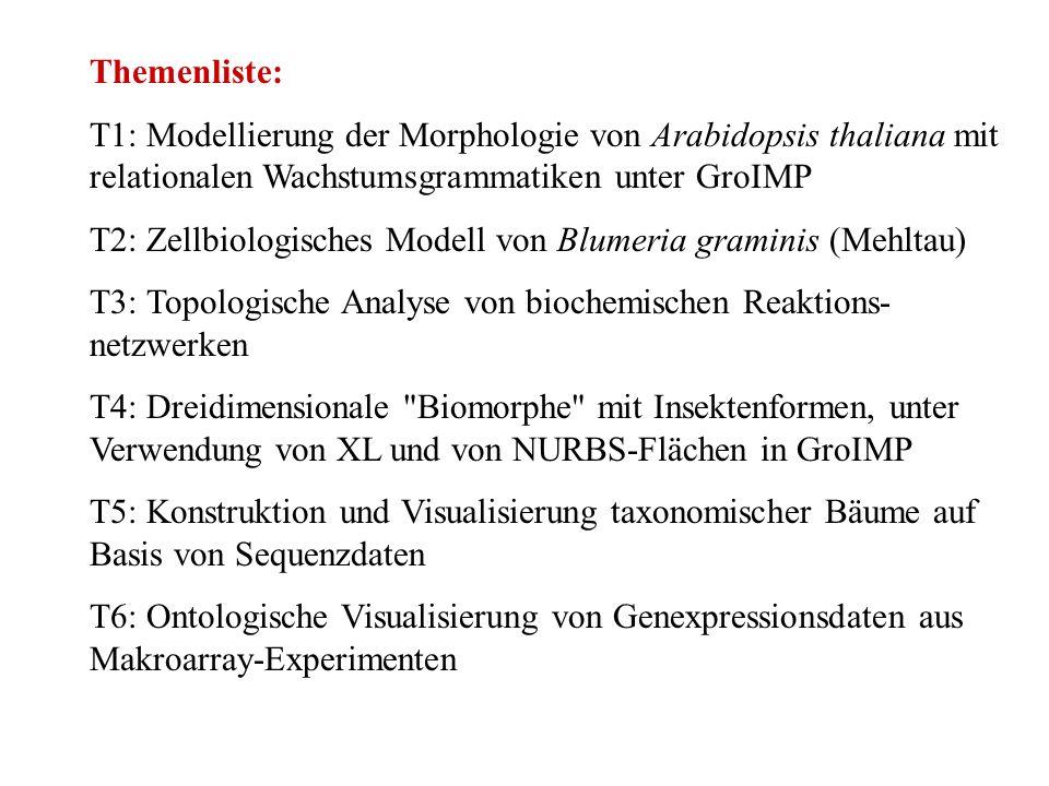 Themenliste: T1: Modellierung der Morphologie von Arabidopsis thaliana mit relationalen Wachstumsgrammatiken unter GroIMP.