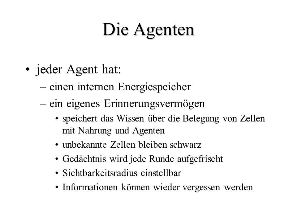 Die Agenten jeder Agent hat: einen internen Energiespeicher