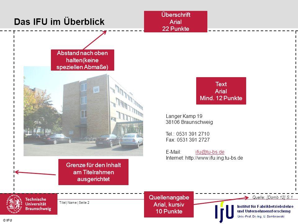 Das IFU im Überblick Überschrift Arial 22 Punkte